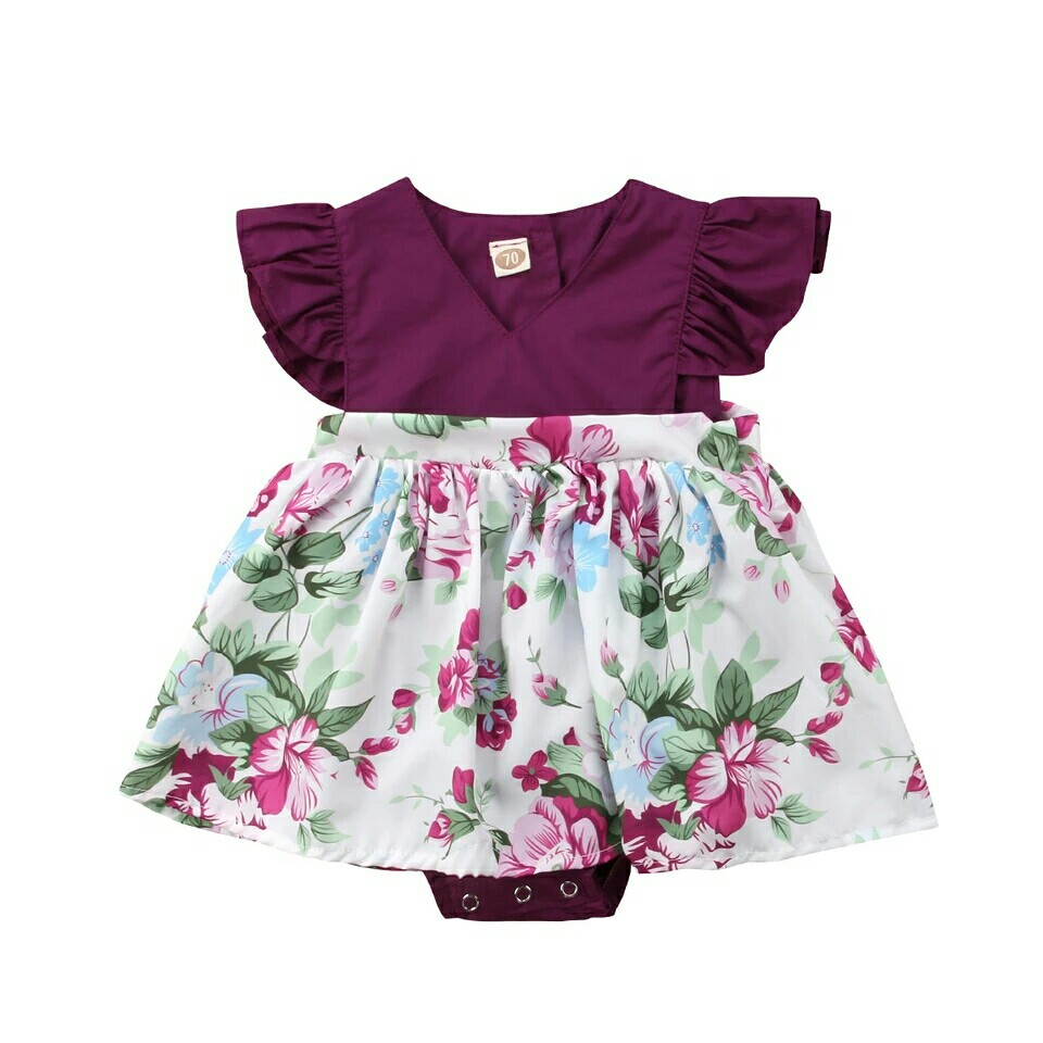 432874dc6 Newborn Toddle Baby Girls Flower Bodysuit Dress Ruffle Sleeve ...