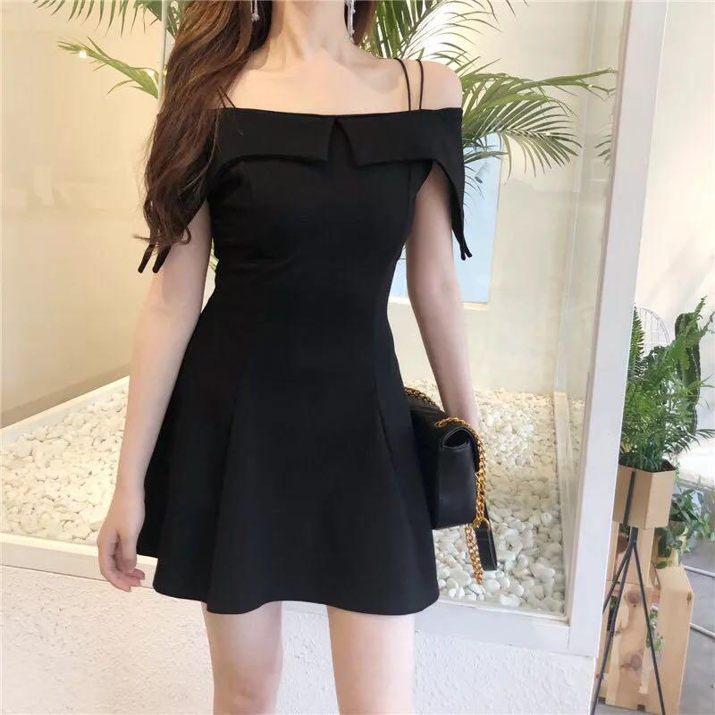 Off Shoulder Black Dress Slim Women Ladies Girls Plain simple Woman ... db178836a