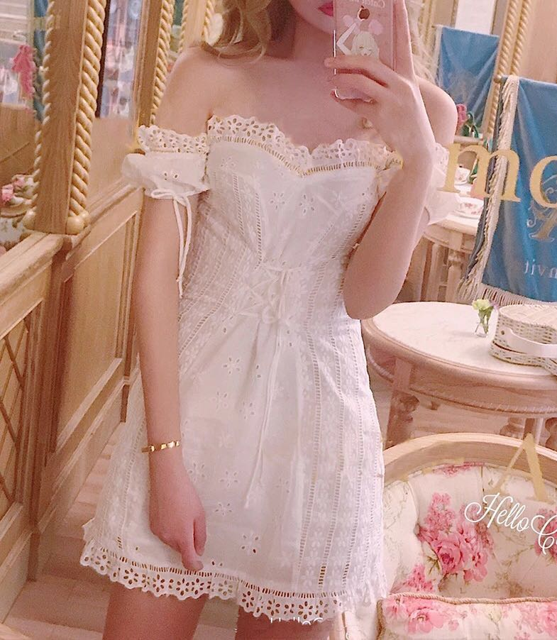3e52612586 Off Shoulder Lace Dress Corset Japanese Japan Jpop Neko Cat Outfit ...