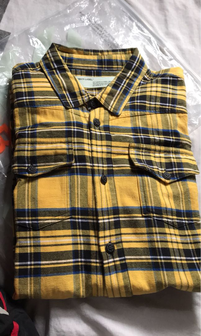 6b751a476b6 off white off-white pyrex diag spray flannel check shirt, Men's Fashion,  Men's Tops on Carousell