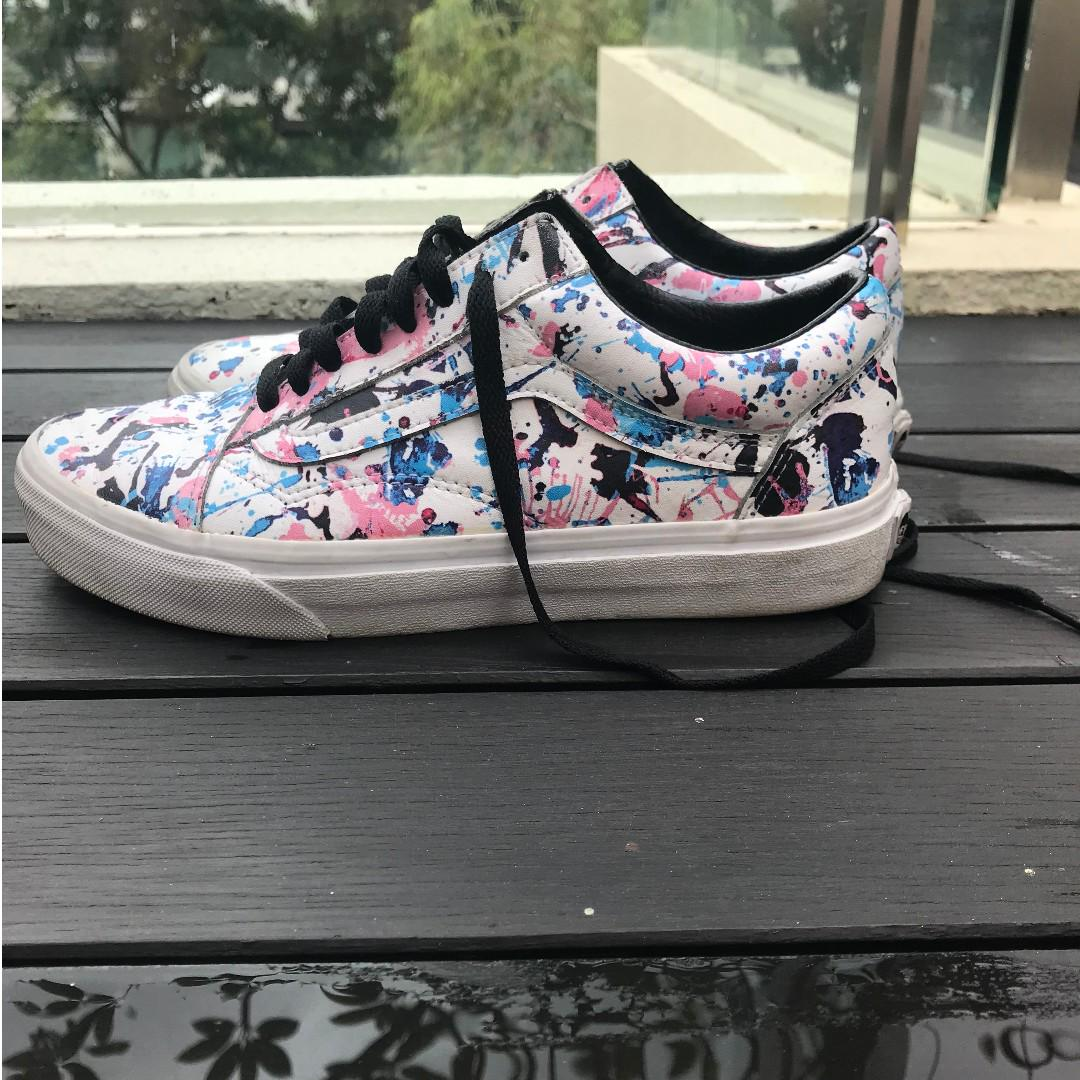Vans Shoes Old Skool Paint Splatter PinkTrue White