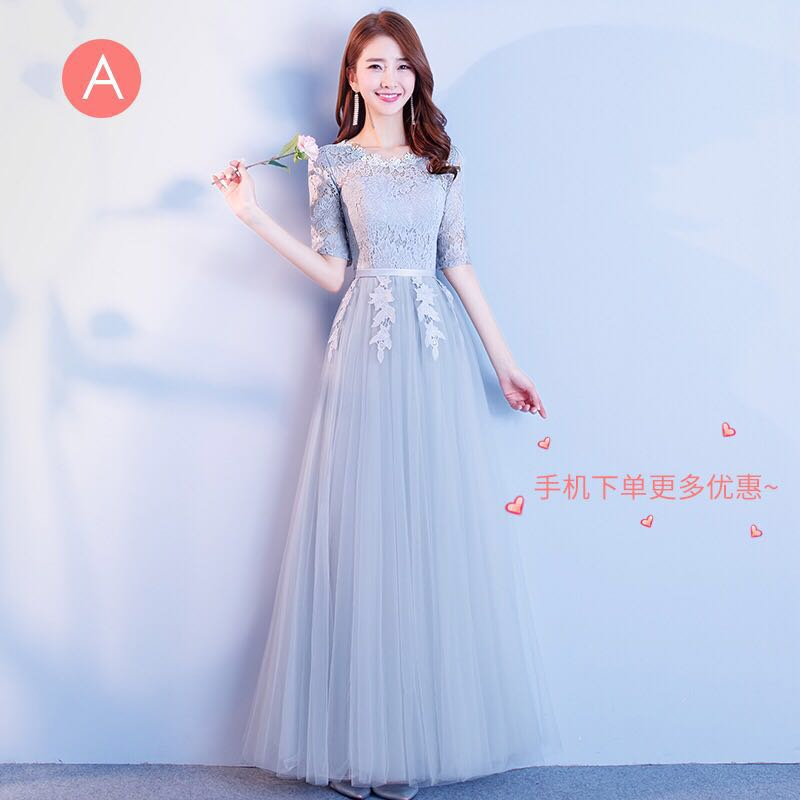 7f150c9d520 Po Korean Elegant Evening Gown Bridesmaid Dress Long Version
