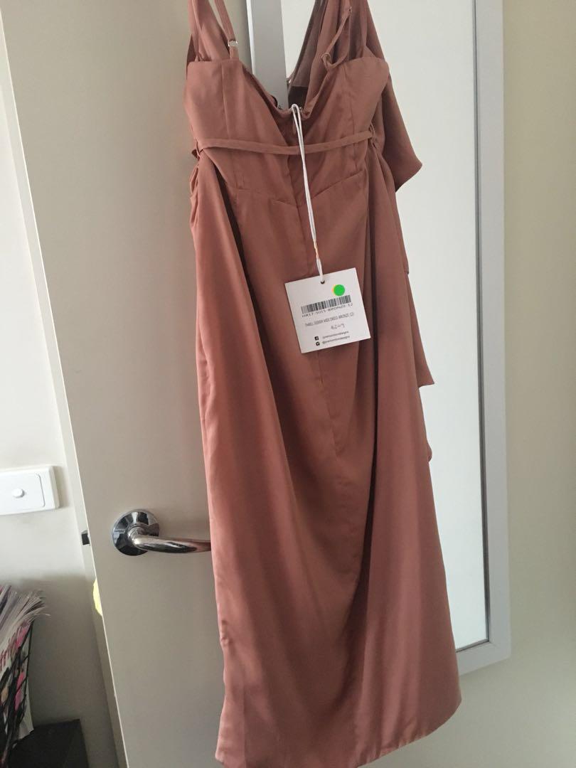 PREMONITION the label midi rose gold dress