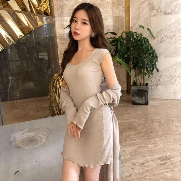 4de90a8a695f Ribbed Cap Sleeve Mini Bodycon Dress Long Sleeve Midi Cardigan 2 ...
