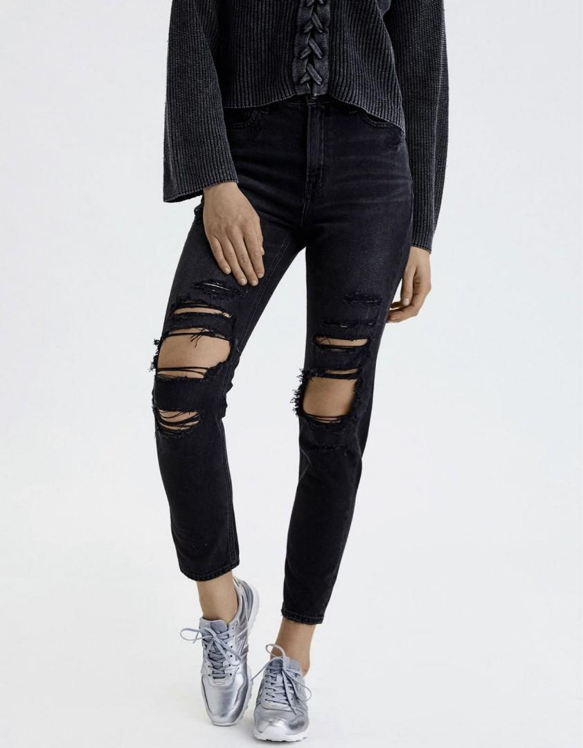 Ripped black mom jeans