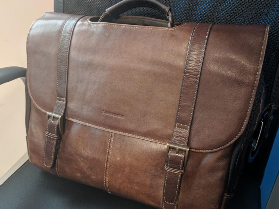 af3b014bf415 Samsonite brown leather messenger  briefcase