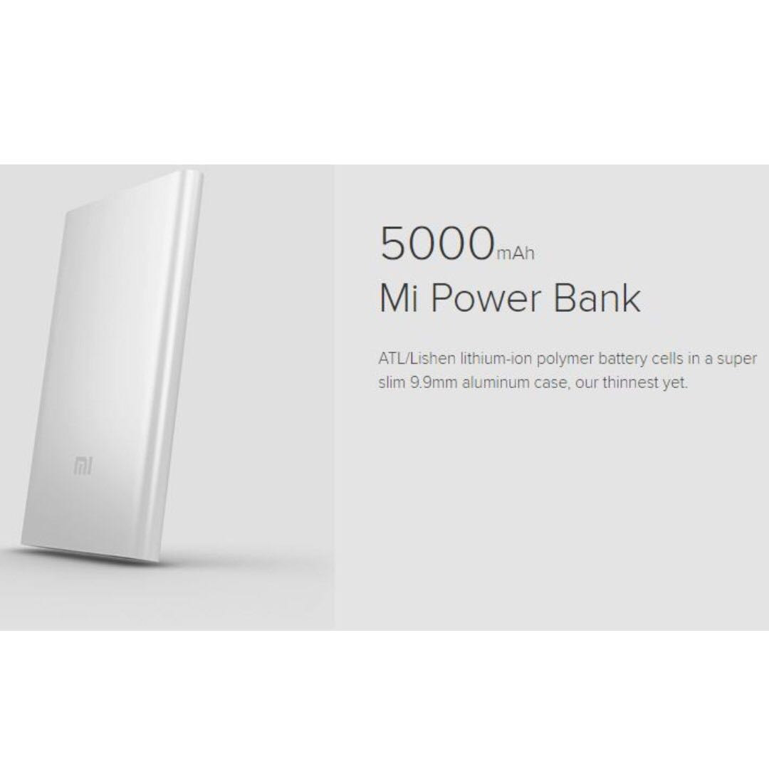 Sl 003 Xiaomi 5000mah Mi Powerbank Silver Mobiles Tablets Mobile Slim 5000 Mah Power Bank Ori Photo