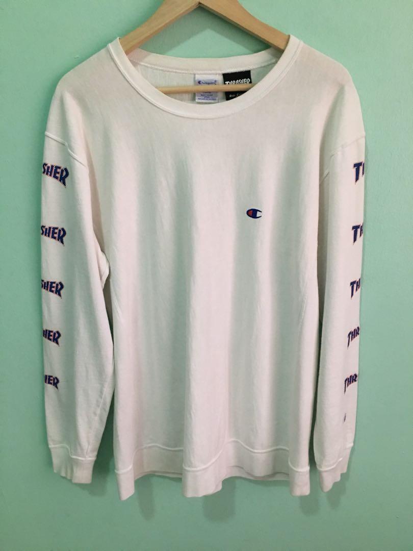 Sweatshirt Champion X Thrasher Mens Fashion Clothes On Carousell Lgs  Regular Fit Stripe Tee Blue Casual T Shirt Biru L