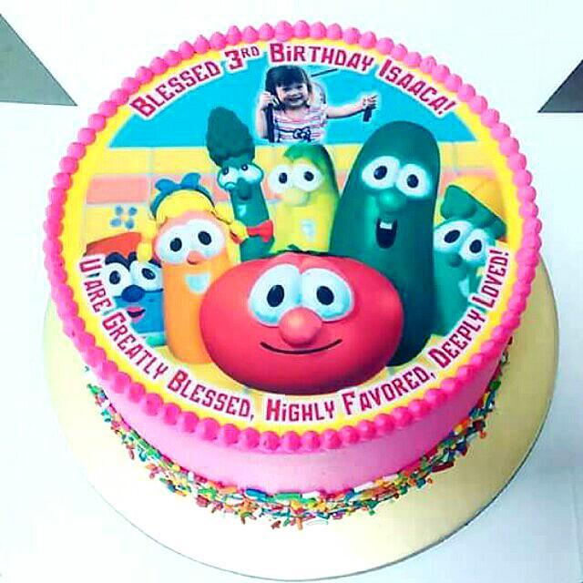 Super Veggie Tales Customise Photo Cake On Carousell Personalised Birthday Cards Veneteletsinfo