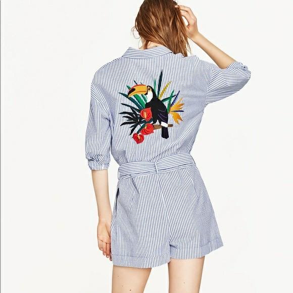 36dfb8187c7 Zara bird stripe short jumpsuit