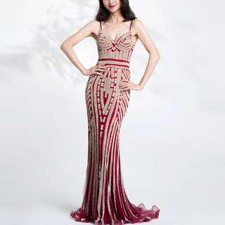 👭 Premium Red Gold Diamond Gown (RENTAL)
