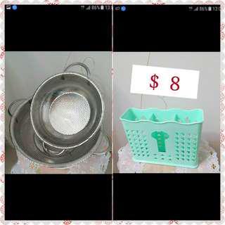 不銹鋼 筲箕 筷子餐具筒