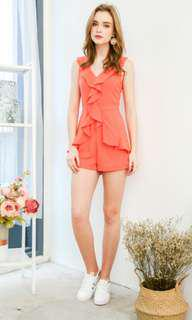 FALLON RUFFLED ROMPER IN TANGERINE