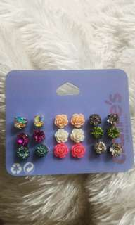 Stones and flower earrings