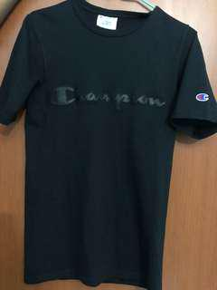 Champion Leather Embroidered Black T-Shirt