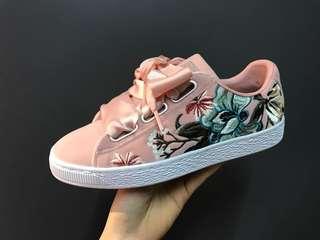 🚚 PUMA 鞋 緞帶 絲綢 粉