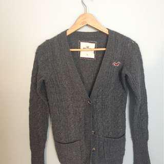 Grey Hollister Wool Cardigan Size Small