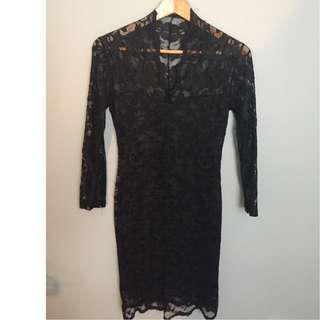Black Lace Dress with Lining Size 6 from ASOS