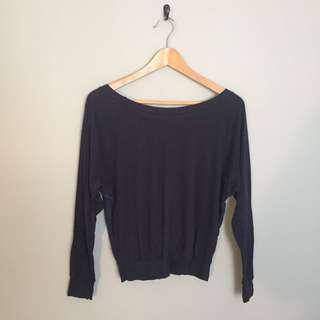American Apparel Navy Blue Reversible Lace Shirt