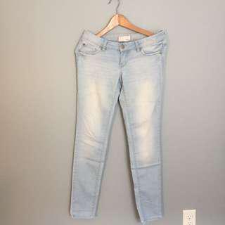 Light Acid Wash Garage Denim skinny Jeans Size 3