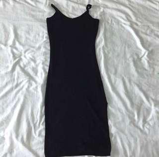 Bodycon slit black dress #50under