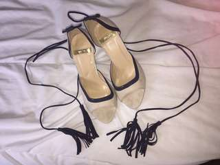 White Suede Tie Up Shoes (SIZE 7)
