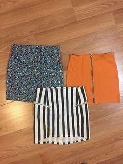 3 mini skirts size small