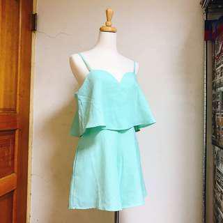 🚚 全新歐美果綠細肩帶桃心領連身褲|Janet Style