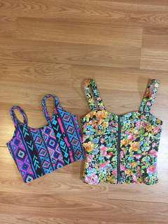 Lot of 2 colourful tops