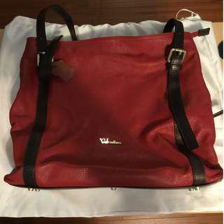 Red Leather Handbag by Valentina