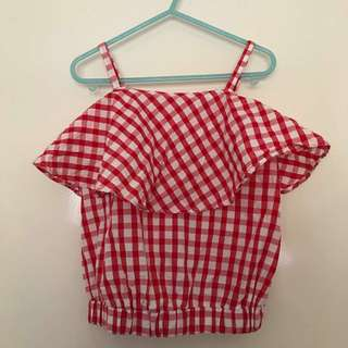 Euc Girls Size 8 Gingham Cropped Summer Top Adjustable Straps Red White