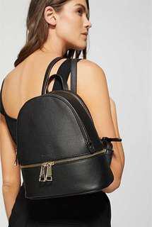 Witchery Nadine black leather mini backpack
