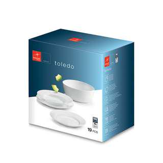 BORMIOLI ROCCO 19PC WHITE OPAL PORCELAIN DINNERSET SET BREAK AND CHIP RESISTANT MADE IN SPAIN