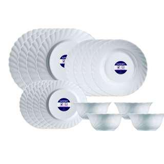 LUMINARC PLAIN WHITE 16 PC DINNER PLATE MICROWABLE HEAT AND CHIP RESISTANT  Tempered, Extra Resistant Opal Material