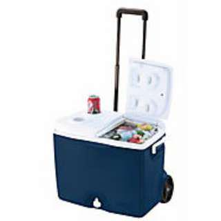RUBBERMAID 45QT WHEELED COOLER SUPERIOR THERMAL RETENTION SIDE WINGS HANDLE WITH FRONT DRAIN