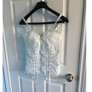 White Heartshaped Cami with Skull & Crossbones Detail