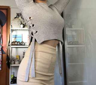 Eyelet Detail Grey Crop Sweater from Bardot