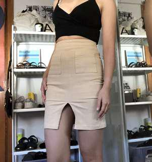 Korean Tan Skirt with Pocket Details!
