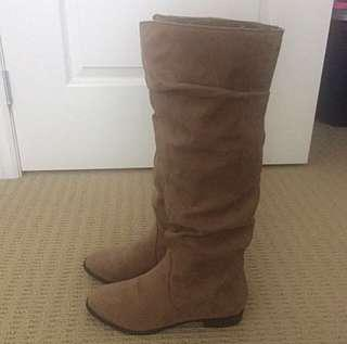 PRICE DROP F21 taupe boots size 6