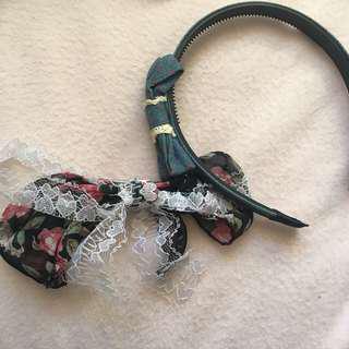 Lacey ribbon clip and blue ribbon headband