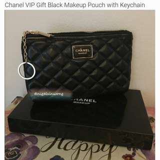 🌹Chanel VIP Gift Black Makeup Pouch with Keychain coins bag