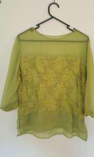 Green Tapestry Sheer Sleeve Blouse Top