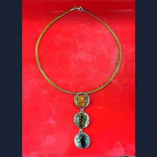 White Gold/Silver embedded with Amber Honey Sap Precious Stone Necklace