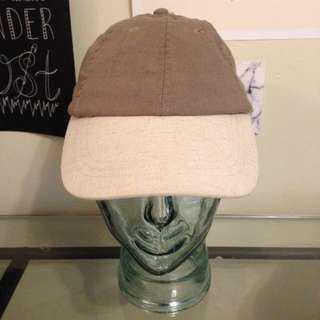 Taupe and beige dad hat with leather strap