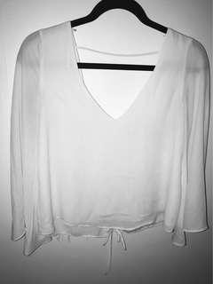 Zara White 3/4 Sleeve V-Neck Top