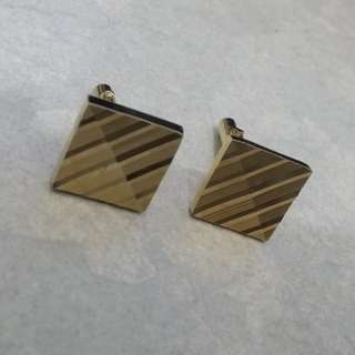 1970s Classic Mens Square with texture Cufflinks