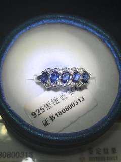 緬甸藍寶石排戒指 活口圈
