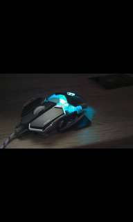 (P.O.)RGB Gaming Mouse USB Wired 9 Buttons 4 Colors Backlight 4000 Adjustable DPI Optical Gamer Mice Computer