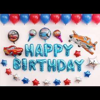 🦄 [Instock] Happy Birthday Party Balloon Sets - Cars (Lightning McQueen / Planes / Spiderman)