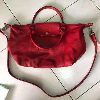 Longchamp Le Pliage Cuir leather in red small